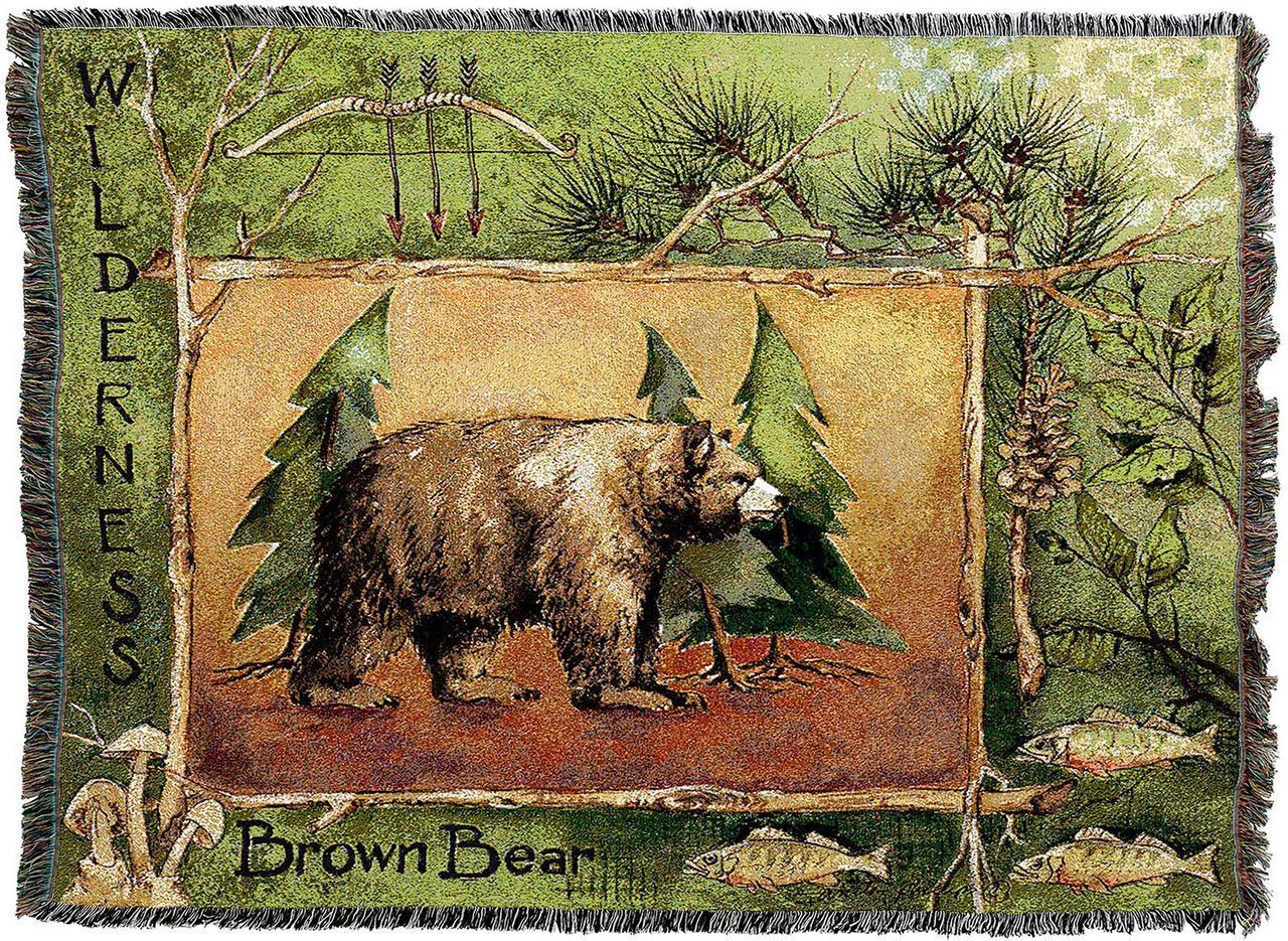 Brown Bear Woven Cotton Afghan Blanket