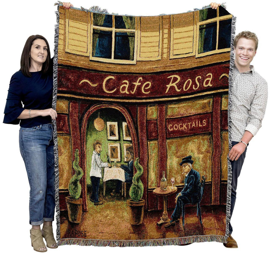 Red European Cafe Woven Throw Tapestry