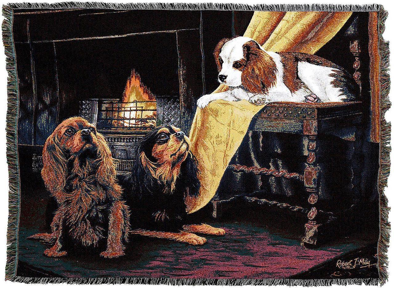 King Charles Spaniel Dog Throw Afghan Blanket