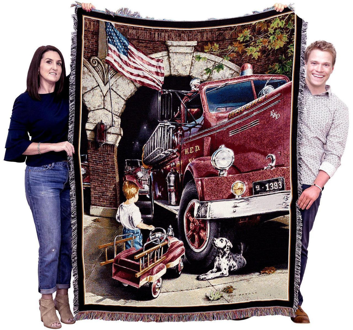 fireman americana red throw blankets