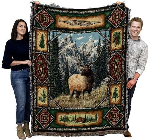 Large Brown Moose Elk Lodge Woven Throw