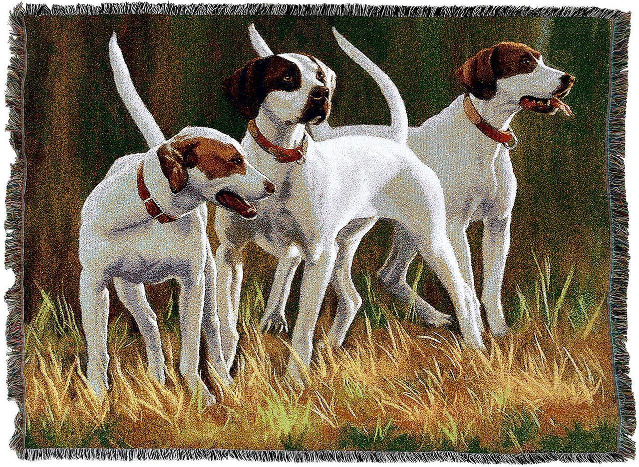 English Pointer Hounds Dog Throw Blanket
