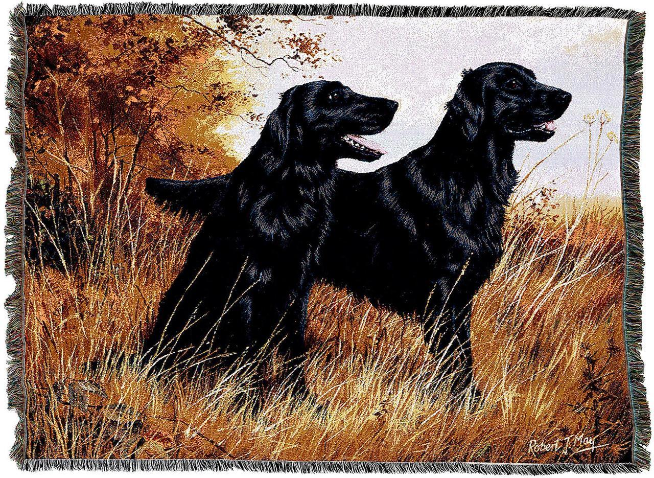 Flat-Coated Retriever Dog Breed Blanket Throw and Tapestry