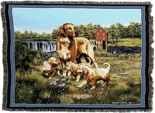 Golden Retriever Woven Throw Blankets