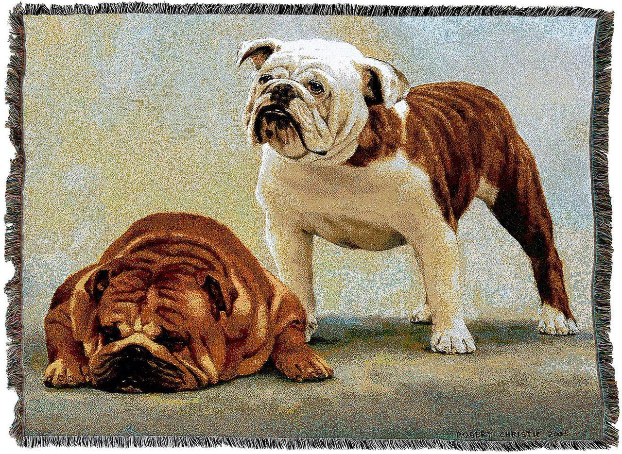 English Bulldogs Woven Throw Blanket