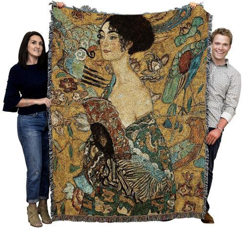 Klimt Lady with Fan Woven Tapestry Throw