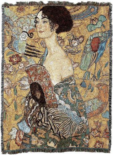 Klimt Lady with Fan Woven Afghan Blanket