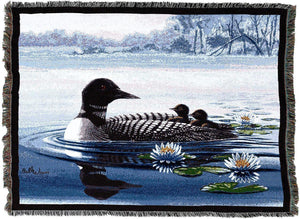 Large Loon and Chicks Throw Blanket