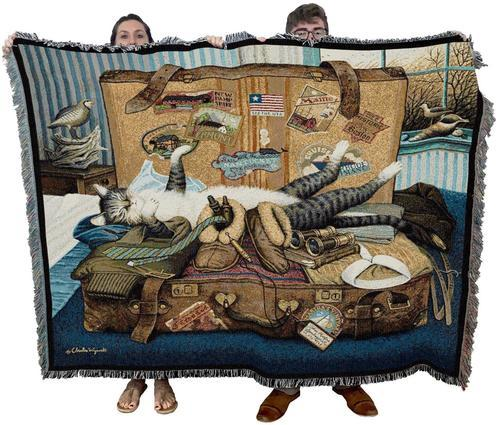 Mabel the Stowaway Woven Cat Throw