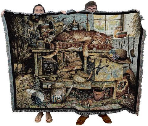 Remington the Horticulturist Woven Cat Textile Throw