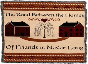Road Between Friends Woven Tapestry Throw Blanket