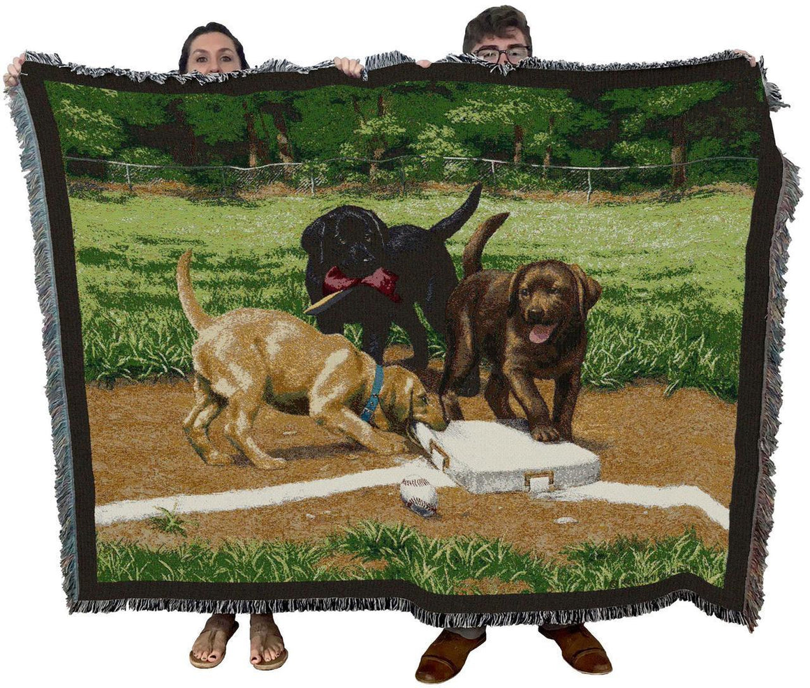 Stealing Second Base Dog Throw Blanket