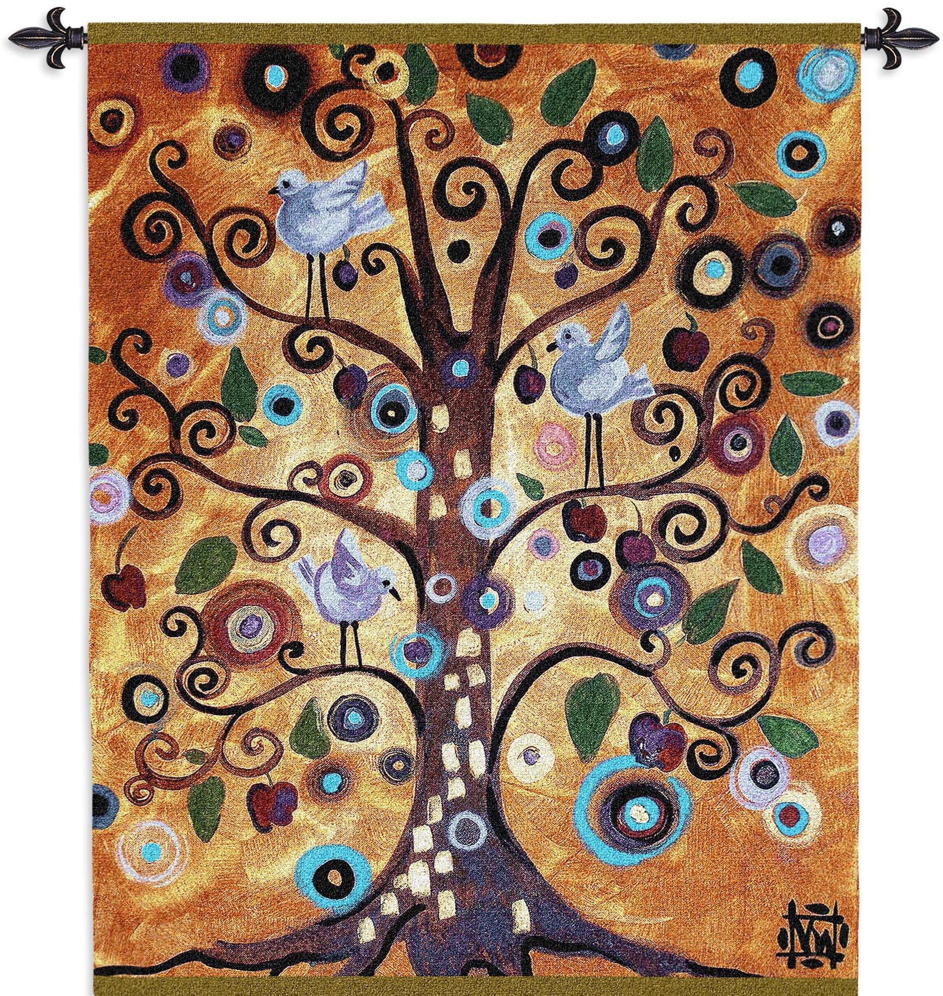 Tree of Life Orange with Birds Tapestry