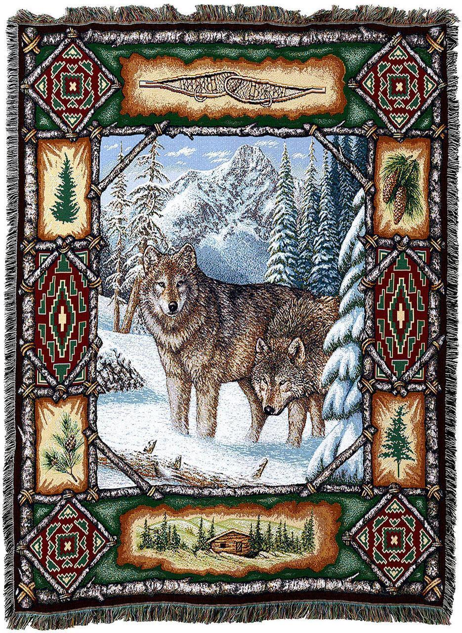 Large Wolf Lodge Woven Throw Blanket