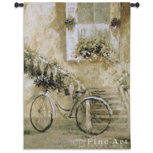 Courtyard Bicycle European Wall Tapestry Hanging