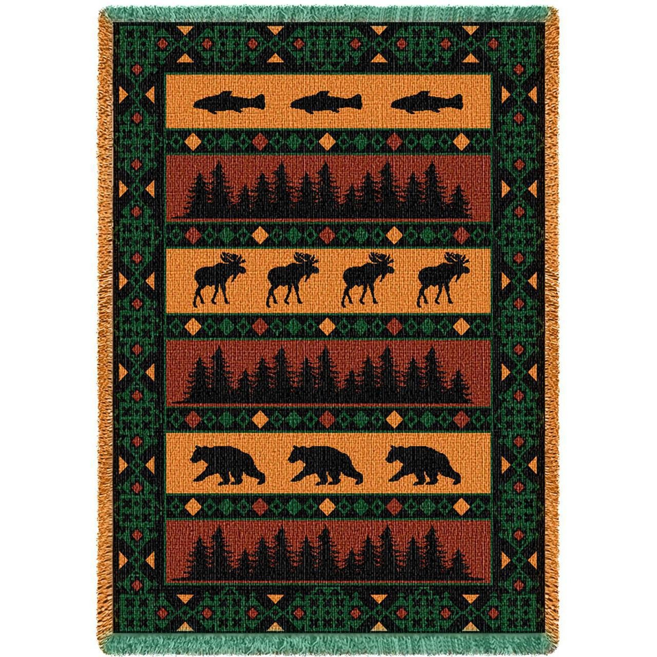 Large Elk Bear Lodge Throw Woven Blanket