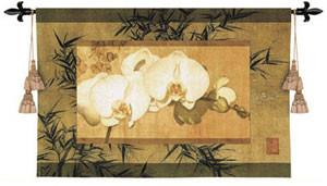 Bamboo And Orchids II Hand Finished European Style Jacquard Woven Wall Tapestry