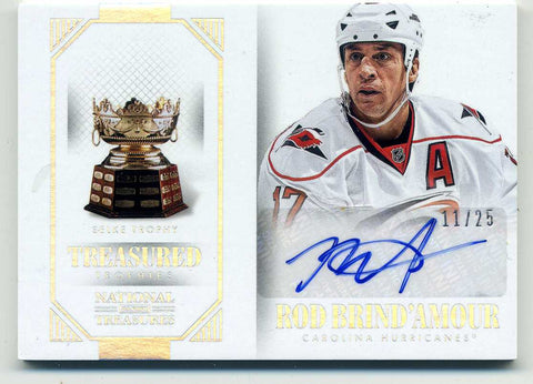 2013-14 Panini National Treasures - Treasured Trophies - Autograph  # A-RBA Rod Brind'Amour # /25