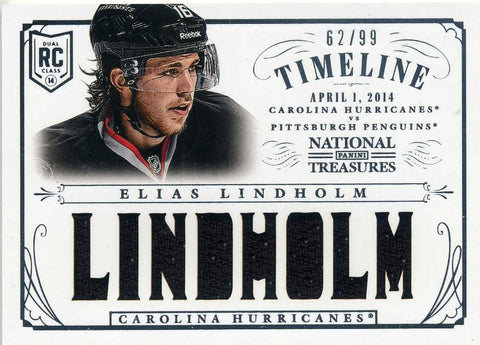 2013-14 Panini National Treasures - Timeline Jersey # RT-ELI Elias Lindholm # /99