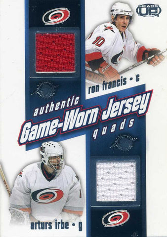 2003-04 Heads Up - Quad Jersey # PQ4-CAR Ron Francis, Arturs Irbe, Rod Brind'Amour, Jeff O'Neill