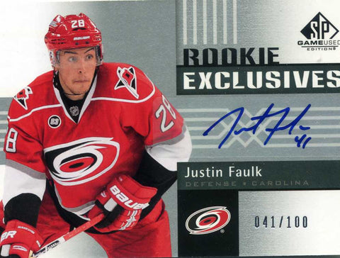 2011-12 SP Game Used Rookie -Rookie Exclusives - # RE-JF Justin Faulk # /100