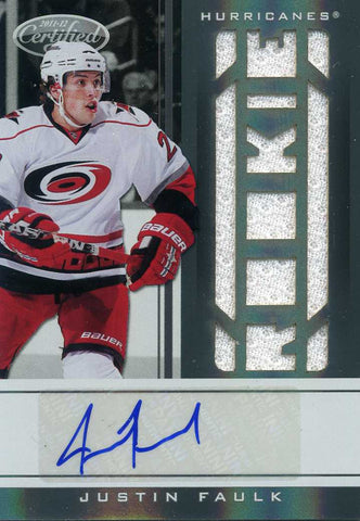 2011-12 Certified - Autograph &  Jersey -  # 225 Justin Faulk #/499 (white)