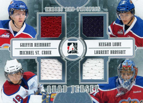 2011-12 In The Game – Heroes & Prospects – Quad Jersey (Silver) - W/ Keegan Lowe, Michael St. Croix, Laurent Brossoit, & Griffin Reinhart