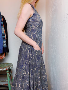 COTTON VOILE WAVE PRINT DRESS