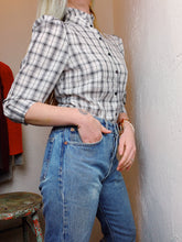 Load image into Gallery viewer, VINTAGE PLAID JACQUARD BLOUSE