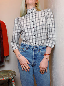 VINTAGE PLAID JACQUARD BLOUSE