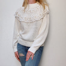 Load image into Gallery viewer, VINTAGE RAMIE & COTTON CROCHET COLLAR SWEATER