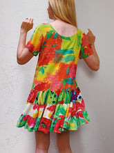 Load image into Gallery viewer, VINTAGE COLORFUL TIERED SHIFT DRESS