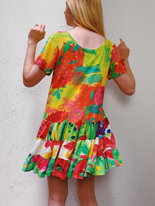 VINTAGE COLORFUL TIERED SHIFT DRESS