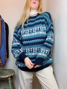 VINTAGE COZY FOLK ANIMAL SWEATER