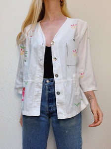 VINTAGE HAND PAINTED COTTON JACKET/BLOUSE