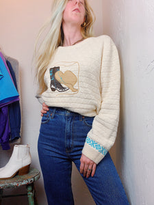 VINTAGE COTTON COWGIRL PATCH SWEATER