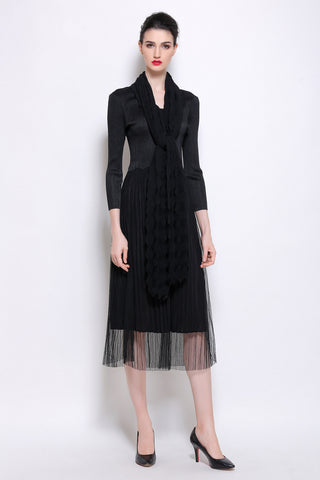 Pleated Dress with built in scarf/cape