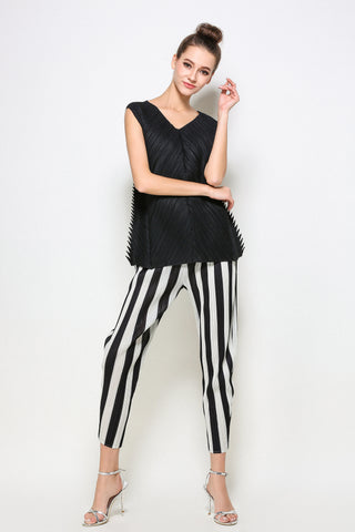 Stripped Pleated Pants