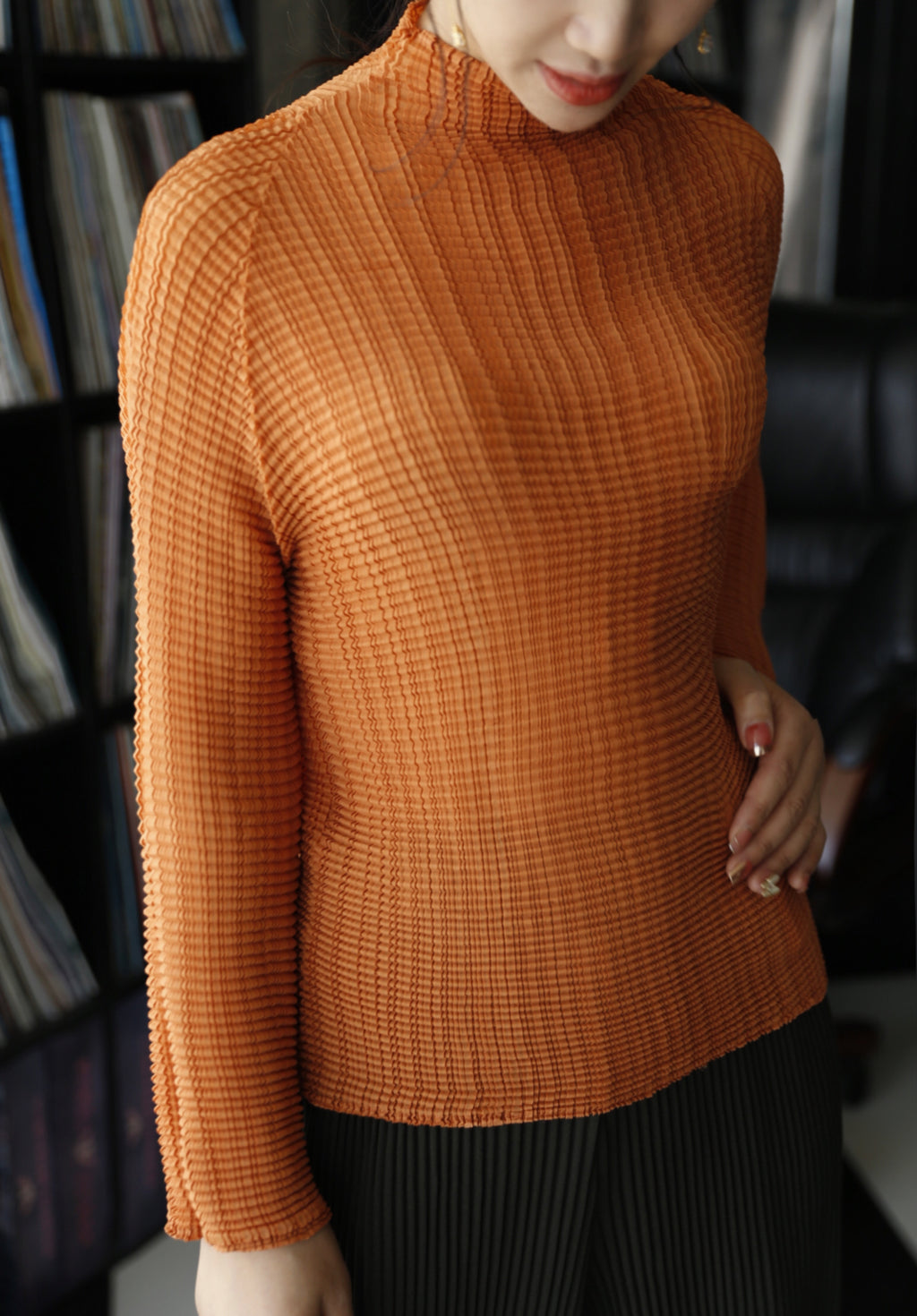 Pleated long sleeve high-neck top