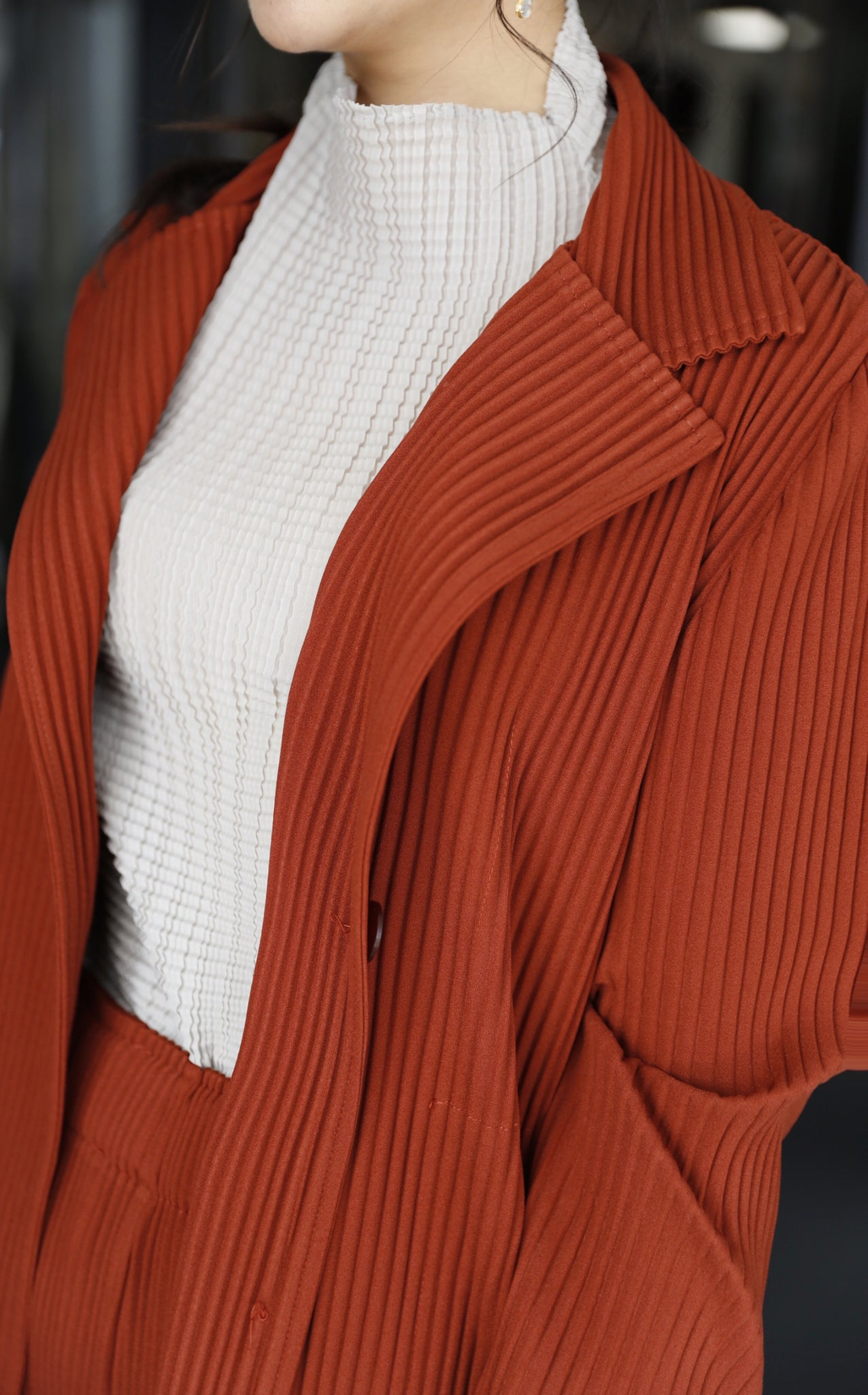 Pleated button-up jacket