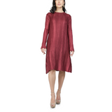 Long Sleeves Textured Pleated Dress