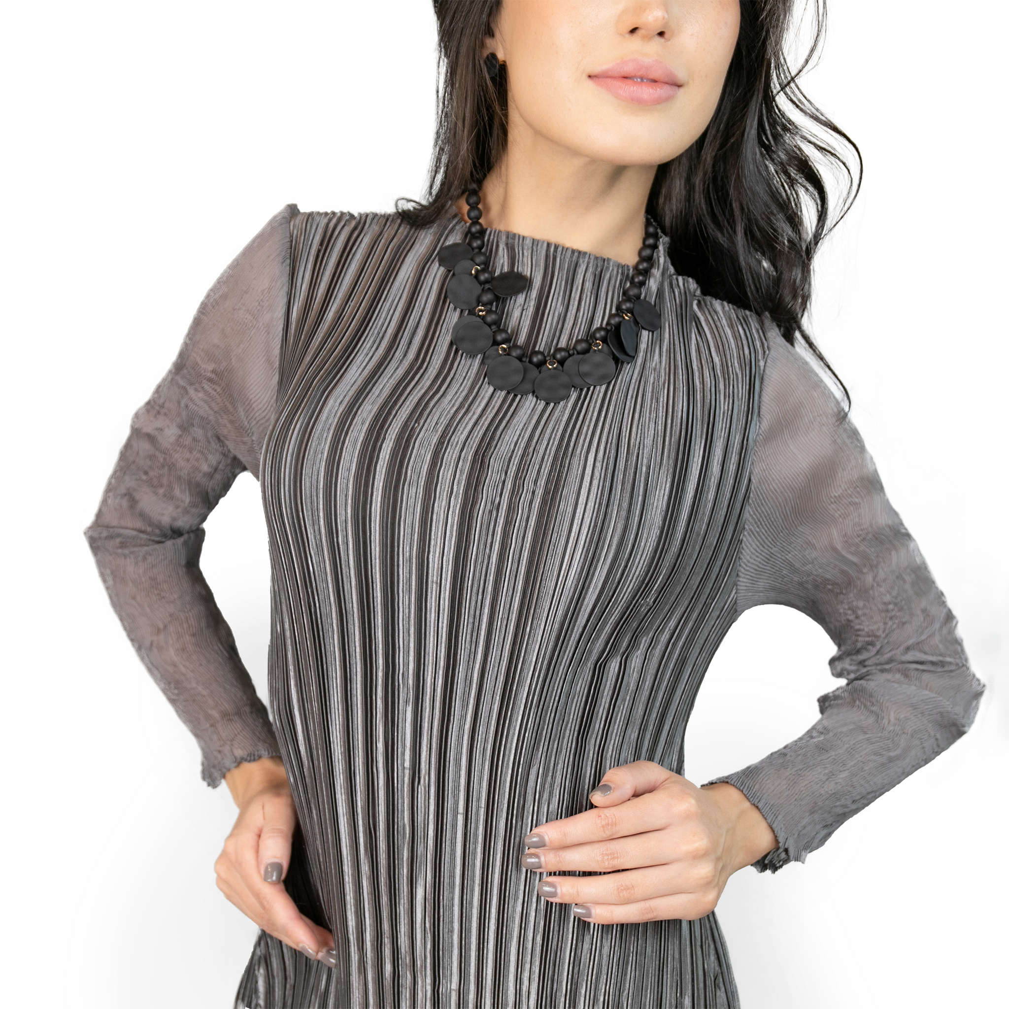 Long sleeves straight-cut collar pleated dress