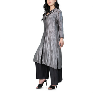 button-up plated metallic coat