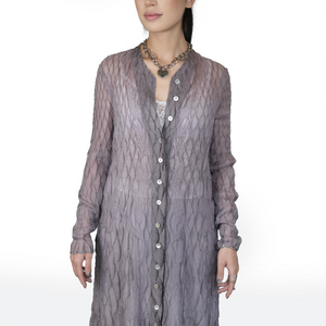 Diamond grid textured button-up ethereal coat