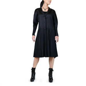 button-up pleated coat dress