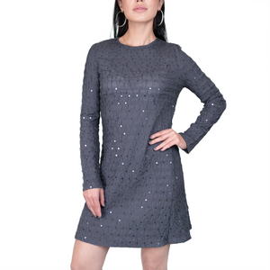 Long sleeves pleated sequin mini swing dress