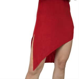 Asymmetrical side slit pleated mini party dress