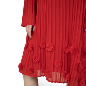 Crown neck long-sleeve pleated midi flower dress