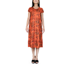 Crown neck short-sleeves printed Plissé midi dress