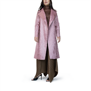 Organic pleated midi coat